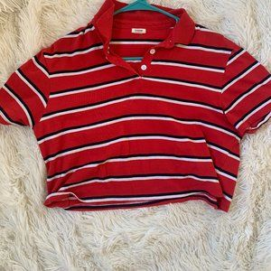 Garage Red and White Striped Cropped Polo Tee